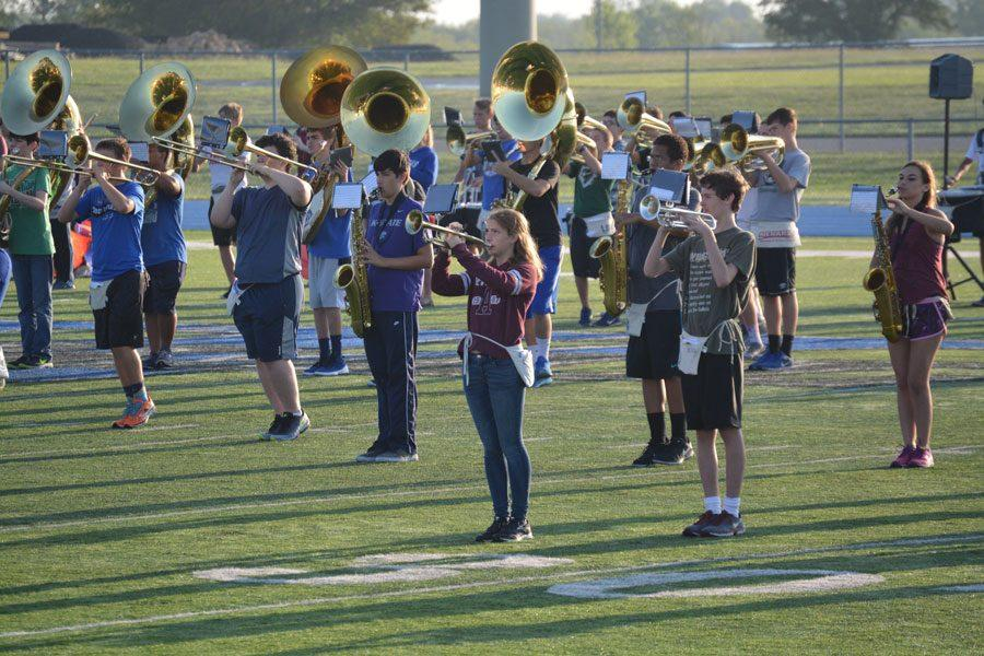 Marching band rehearses during zero hour on Sept. 1.