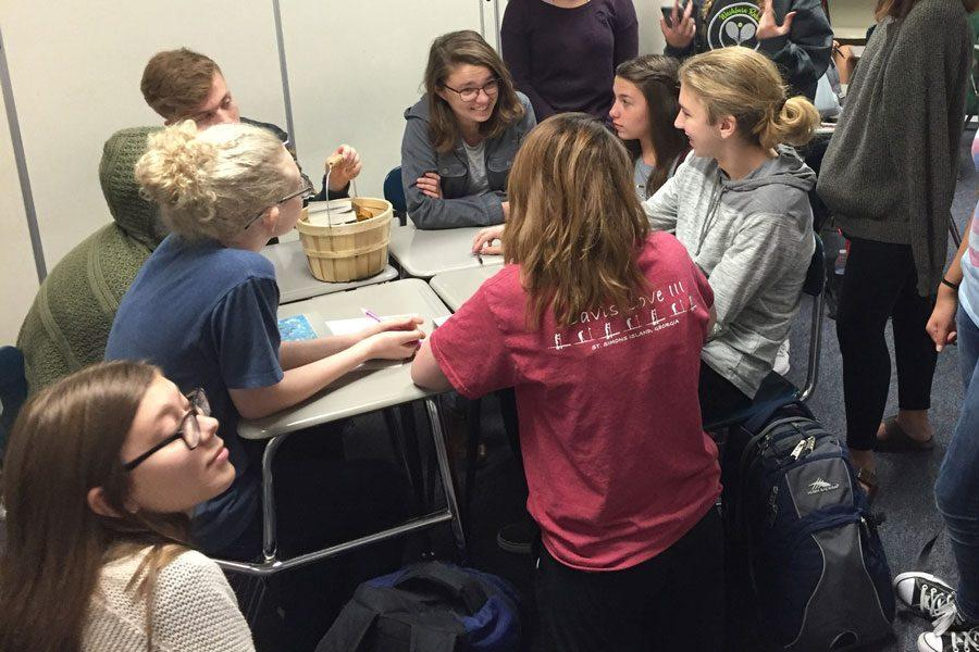Students converse during the first club meeting on Sept. 1.