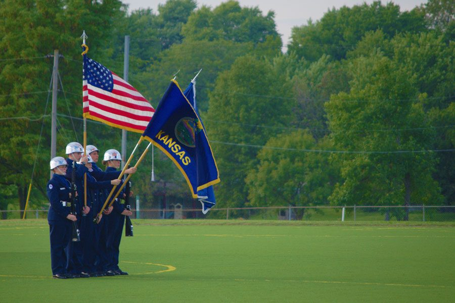 The+JROTC+color+guard+present+the+colors+during+the+national+anthem+before+the+boys+soccer+game+on+Sept.+20.