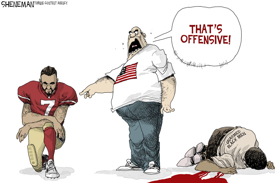 A cartoon depicts Kaepernick's methods behind his protest.
