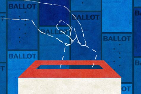 An illustration depicts a hand placing a vote into a ballot box.