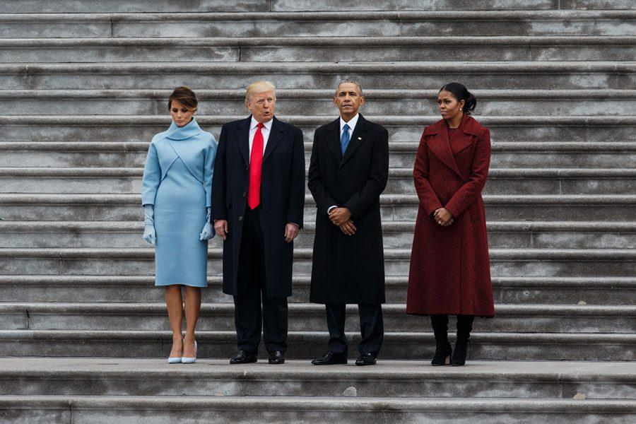 First Lady Melania Trump, President Donald J. Trump, outgoing President Barack Obama and outgoing First Lady Michelle Obama stand together before the Obamas board Executive One after President Donald J. Trump's inauguration on Jan. 20.