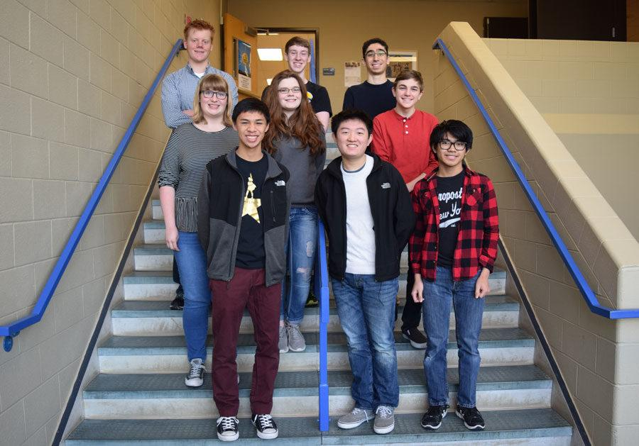 Back Row: Seniors Kevin Bruggemeyer, Jonah Stiel and Ali Guzel Middle Row: Seniors Maggie Hall and Kennady King and sophomore Baker Valley Front Row: Juniors Michael Navarro, Thomas Wu and Kim Jalosjos Not pictured: Senior Ben Westrup and freshmen Jay Ram and Sai Puvvada