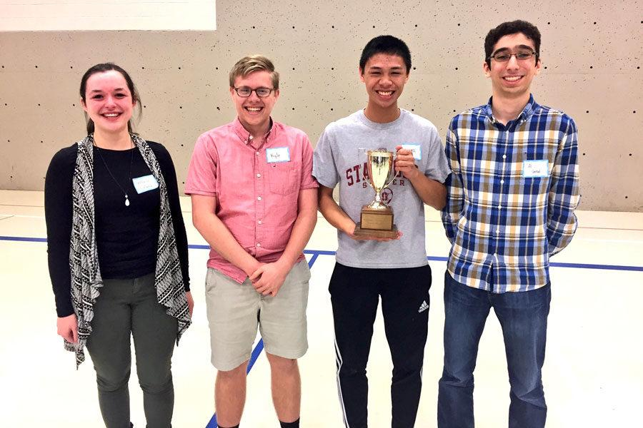 Seniors Veronica Lyle, Kyle Peter, junior Michael Navarro and senior Ali Guzel won the Academic WorldQuest competition on March 4.