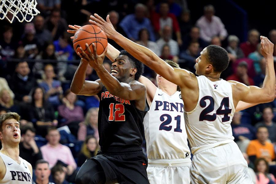 Princeton%27s+Myles+Stephens+drives+to+the+basket+in+a+game+against+Pennsylvania+on+Feb.+7.