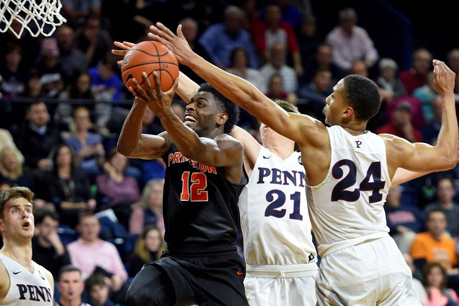 Princeton's Myles Stephens drives to the basket in a game against Pennsylvania on Feb. 7.