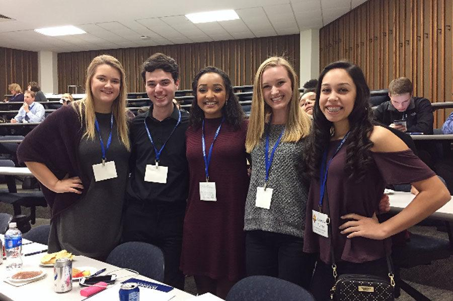 Senior Molly Leyda, junior Caleb Triggs, seniors Caroline Daniels and Emma Francis and freshman Vanessa Torres participated in the Leadership Challenge Event at Washburn University on March 3.