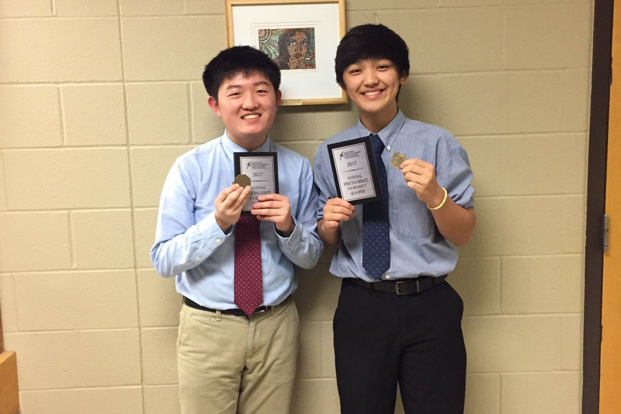 Junior+Thomas+Wu+and+sophomore+Jimin+Park+qualified+to+Nationals+in+Lincoln+Douglas+Debate+on+April+19.+Park+deferred+his+Lincoln+Douglas+Debate+spot+since+he+has+qualified+with+sophomore+Harun+Khan+in+Policy+Debate.